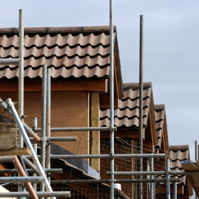 """""""Houses and scaffold"""" stock image"""