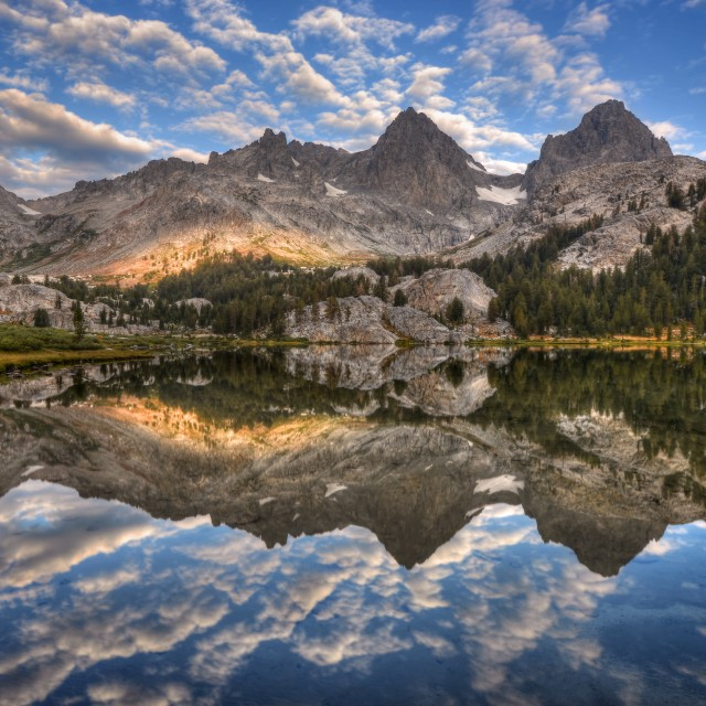 """Banner and Ritter Reflected in Lake Ediza"" stock image"