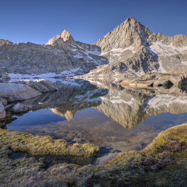 """Sawtooth Peak Reflected in Columbine Lake"" stock image"
