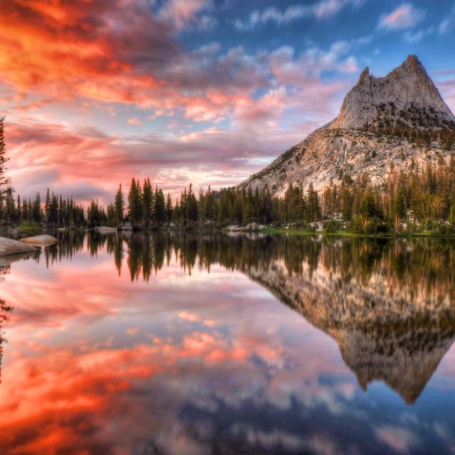 """Last Light at Cathedral Lake II"" stock image"