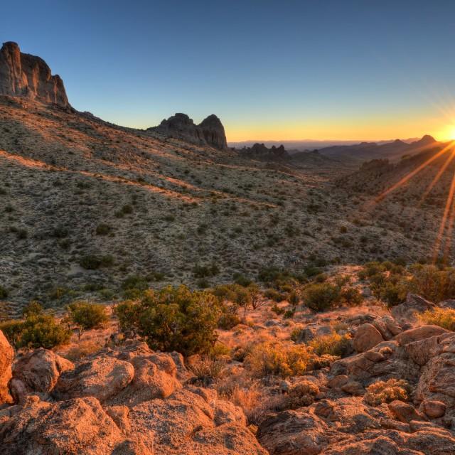 """""""Castle Peaks Sunrise"""" stock image"""