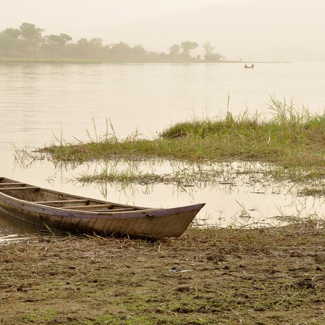 """Lakeside canoe"" stock image"