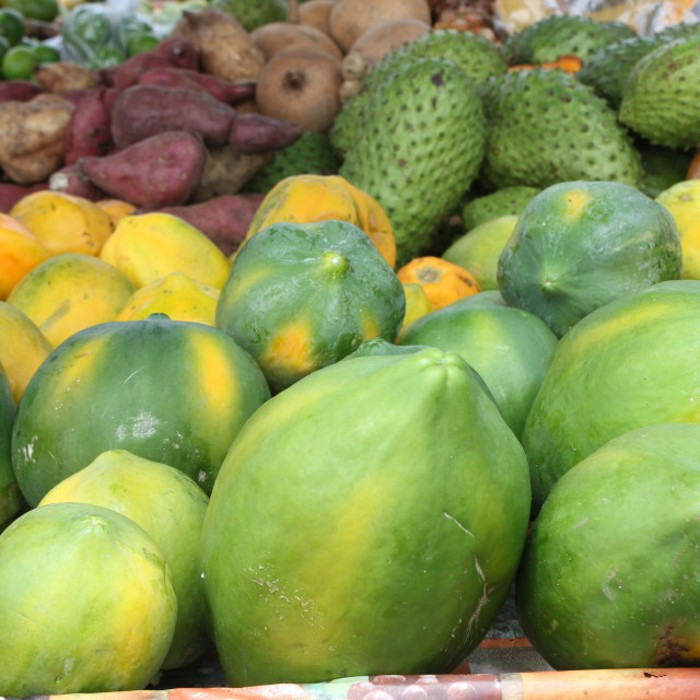 """Exotic fruit at Castries market, St Lucia"" stock image"