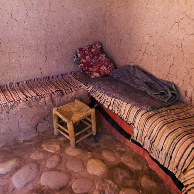 """""""Berber Bedroom - Ksar of Ait-Ben-Haddou"""" stock image"""