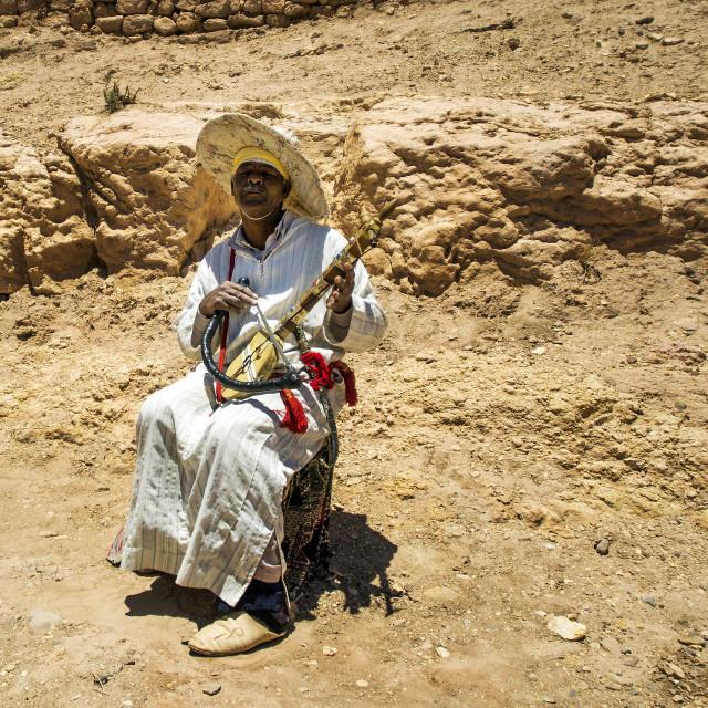 """Berber Musician at Ksar Ait-Ben-Haddou"" stock image"