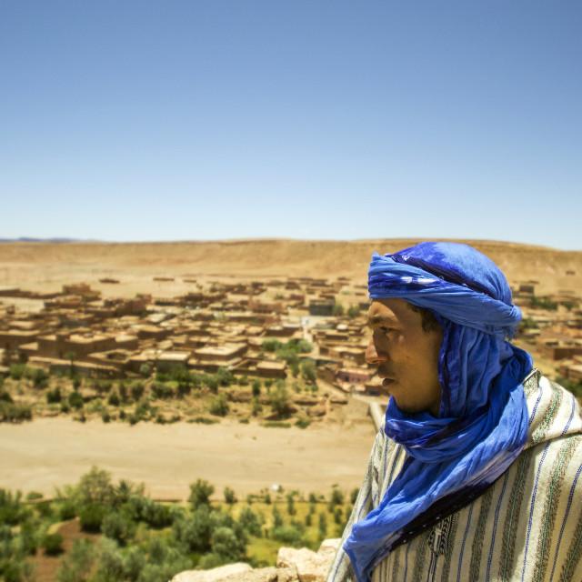 """Berber Man at Ksar Ait-Ben-Haddou"" stock image"