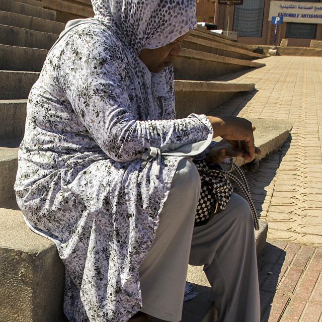 """Muslim Woman in Ouarzazate"" stock image"