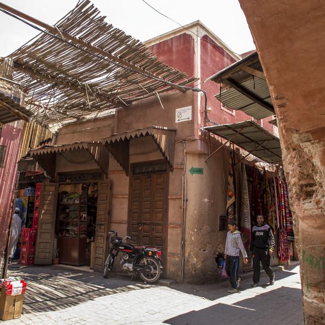 """Souks in Marrakesh"" stock image"