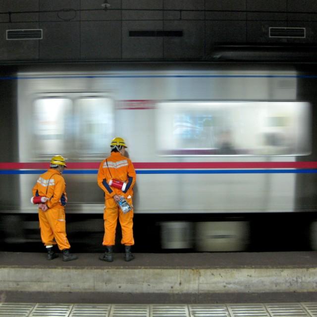 """""""Railways workers in Tokyo"""" stock image"""