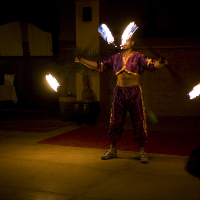 """Marrakech fire artist"" stock image"
