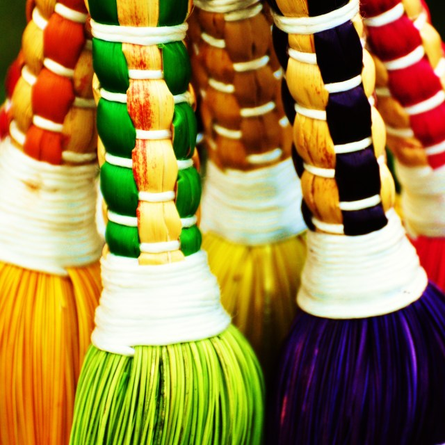 """Coloured Brooms"" stock image"