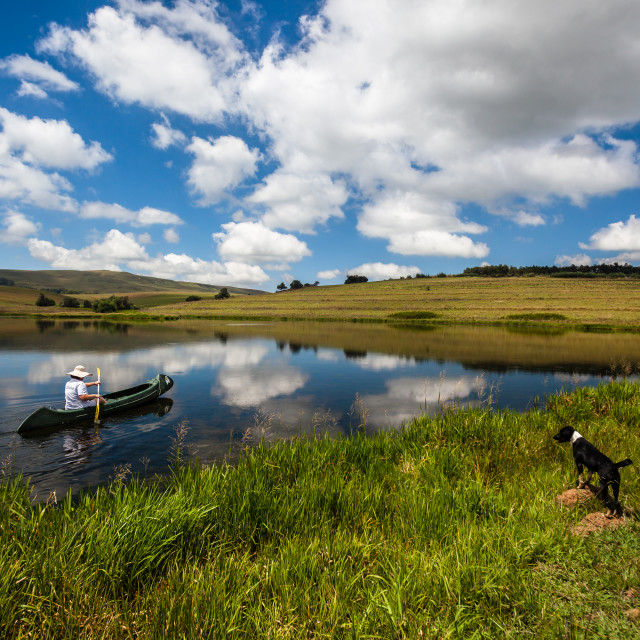 """Canoeing Lake Mountains Mirror Blue"" stock image"