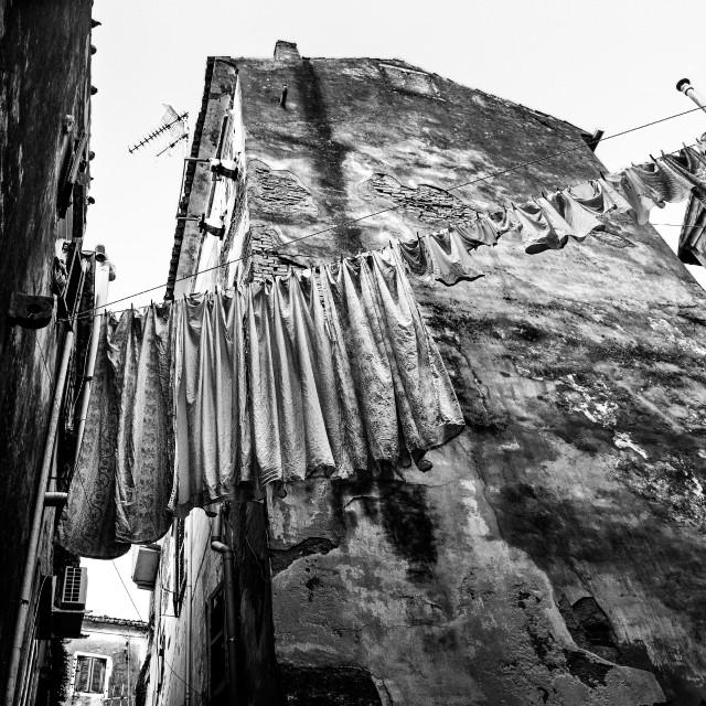 """""""Washday in Corfu Town (b)."""" stock image"""