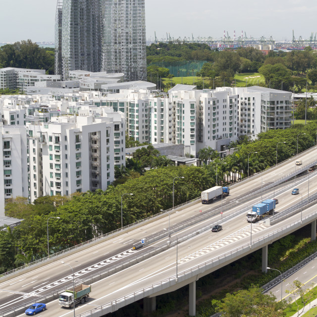 """""""Skyline and highway traffic in Singapore city"""" stock image"""