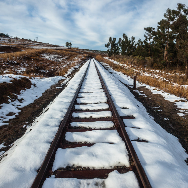 """Rail Tracks Snow Landscape"" stock image"