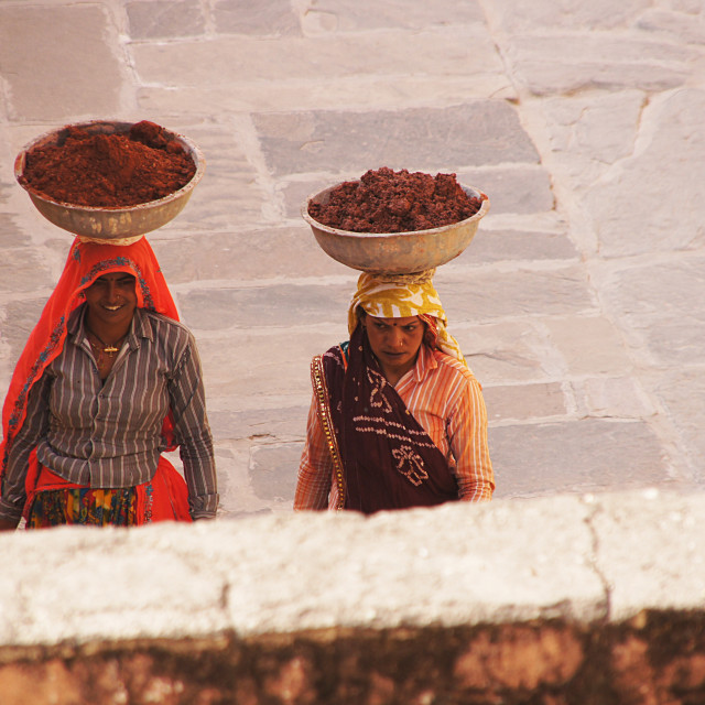 """""""Two workers in India"""" stock image"""