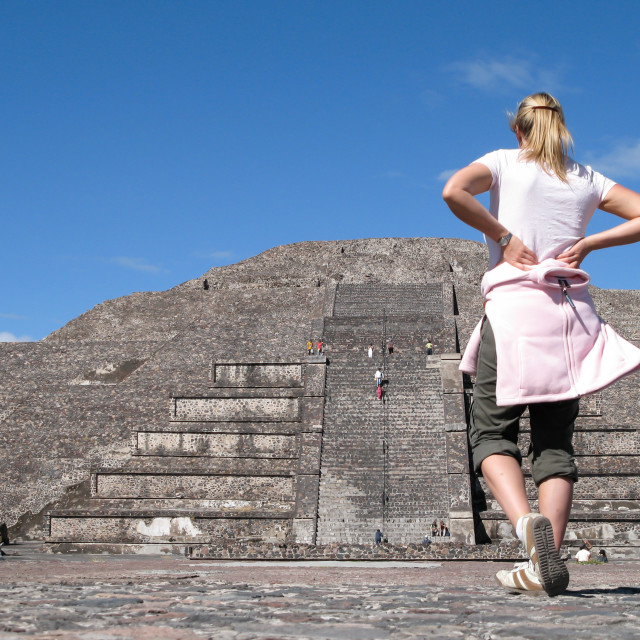"""""""Young woman with Pyramid"""" stock image"""