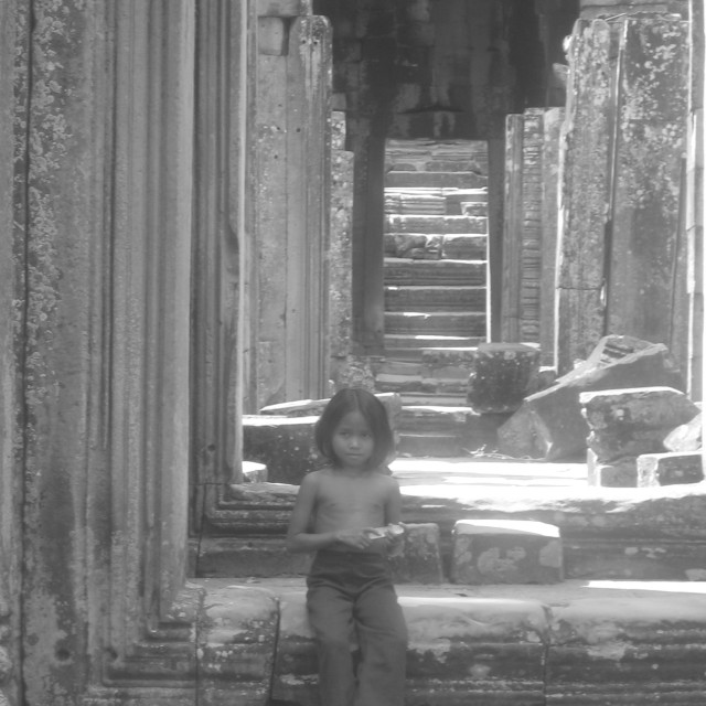 """Waiting in Angkor Wat"" stock image"