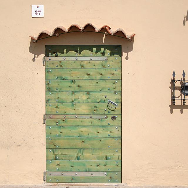 """""""A green door"""" stock image"""