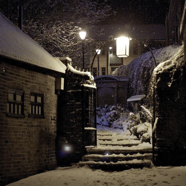 """Winter churchyard gate"" stock image"