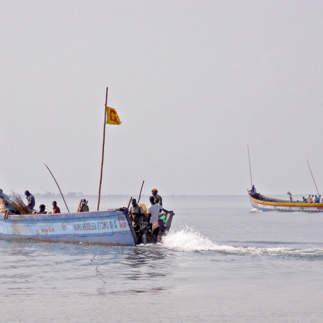 """""""Ferry-boats on Lake Volta"""" stock image"""
