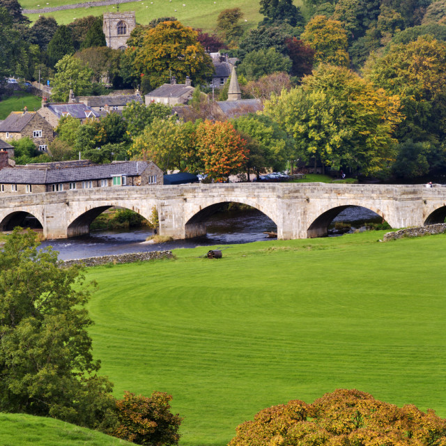 """Burnsall in Autumn"" stock image"