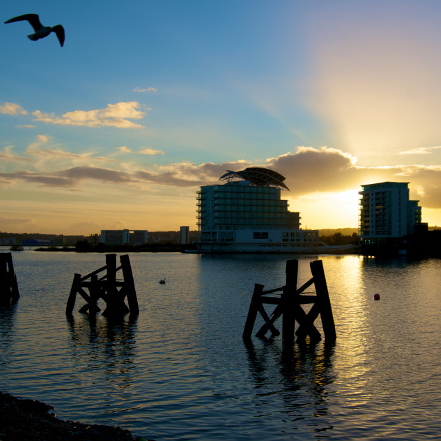 """Sunrise over Cardiff Bay St Davids"" stock image"