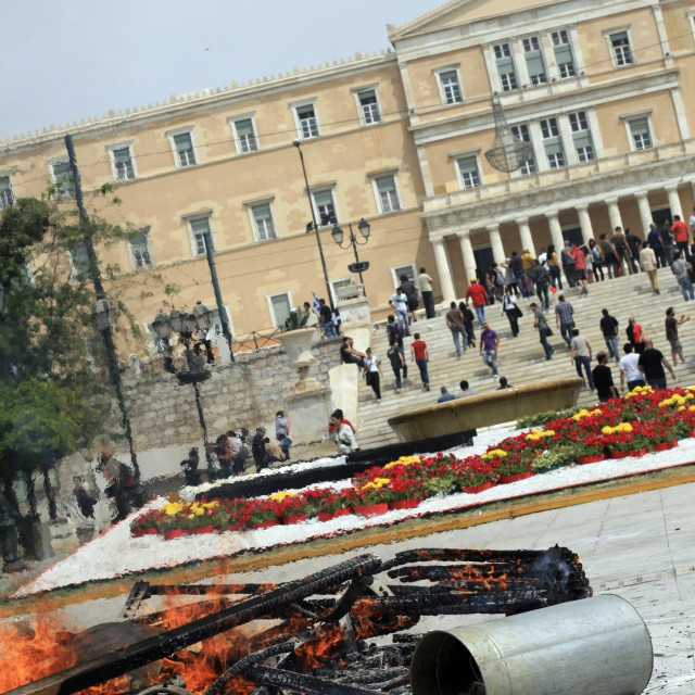 """Hellenic Parliament post-riot"" stock image"