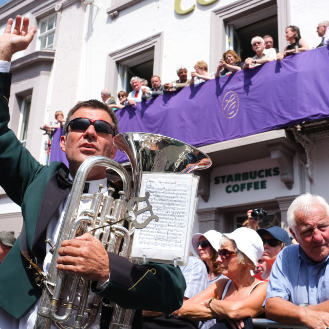"""""""Conductor at the Durham Miners Gala"""" stock image"""