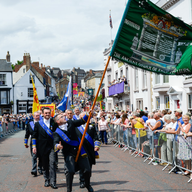 """""""Flag waving at the Durham Miners Gala"""" stock image"""