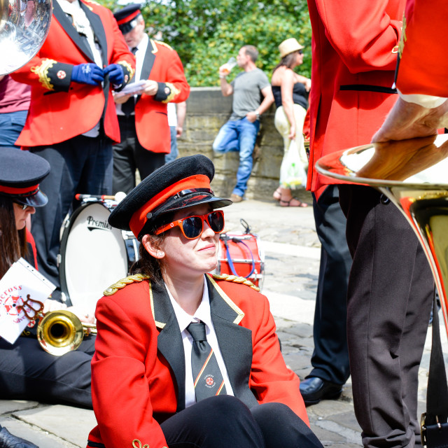 """Resting Musician at the Durham Miners Gala"" stock image"