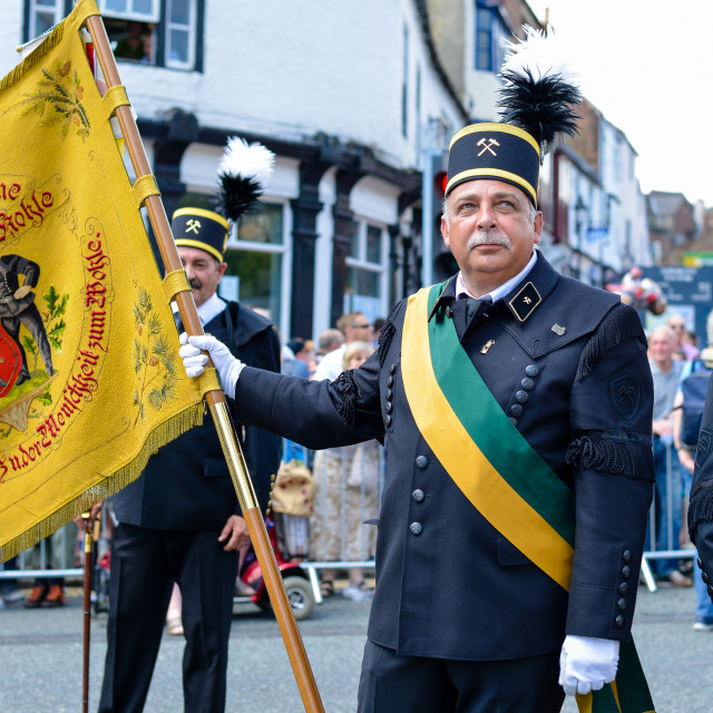 """Flag Bearer at the Durham Miners Gala"" stock image"