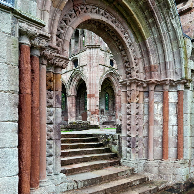 """Arches at Dryburgh Abbey, Scotland"" stock image"