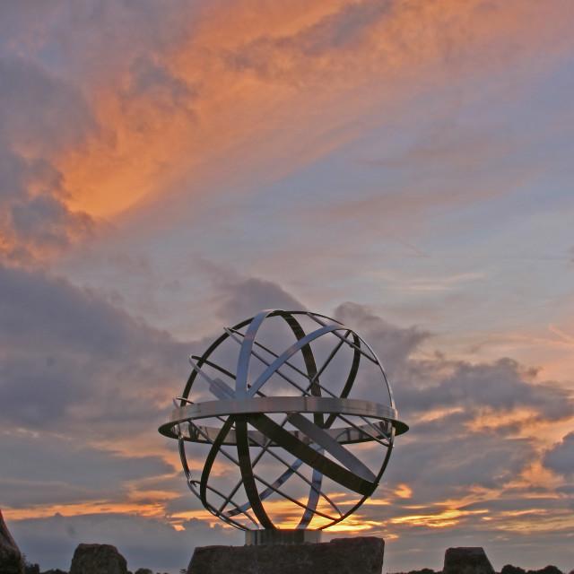 """sunset over globe"" stock image"