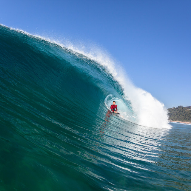 """""""Surfing Tube Ride Blue Wave"""" stock image"""