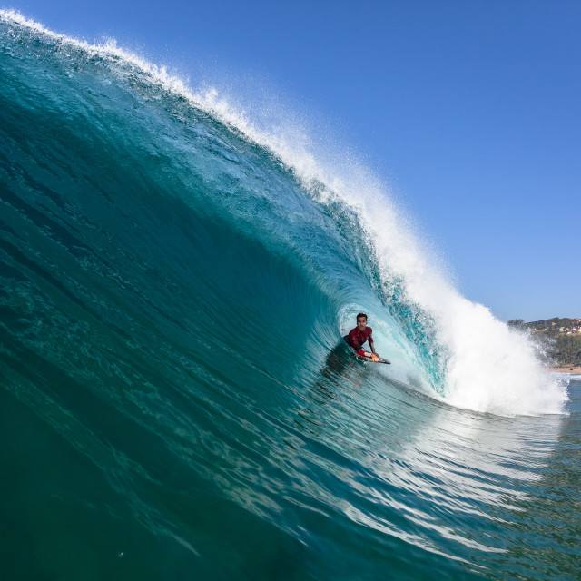 """""""Surfing Rider Hollow Blue Wave"""" stock image"""