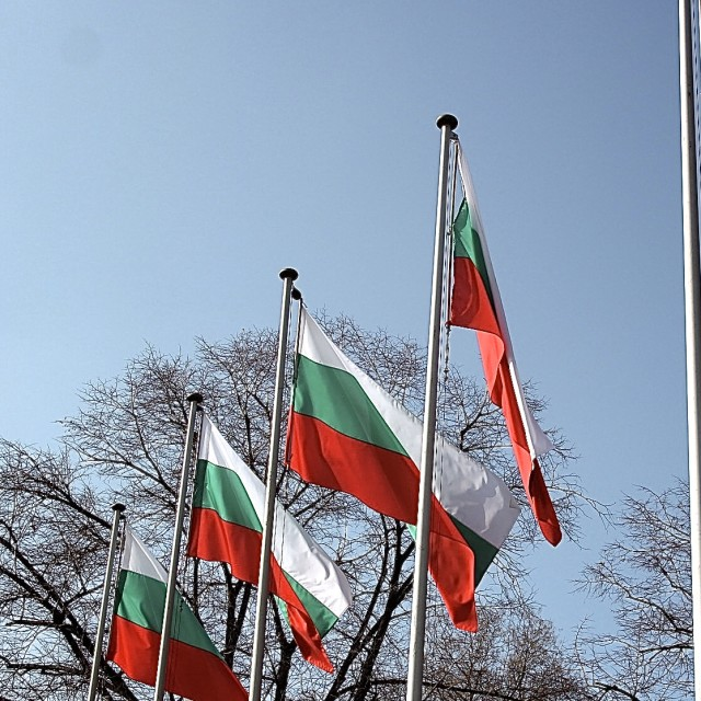 """Bulgarian Flags in Sofia"" stock image"