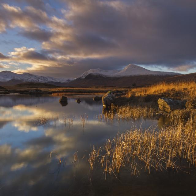 """Last Light on Scottish Loch"" stock image"