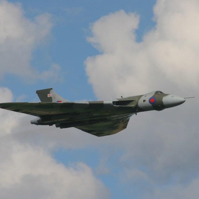 """Avro Vulcan Cold War bomber in flight"" stock image"