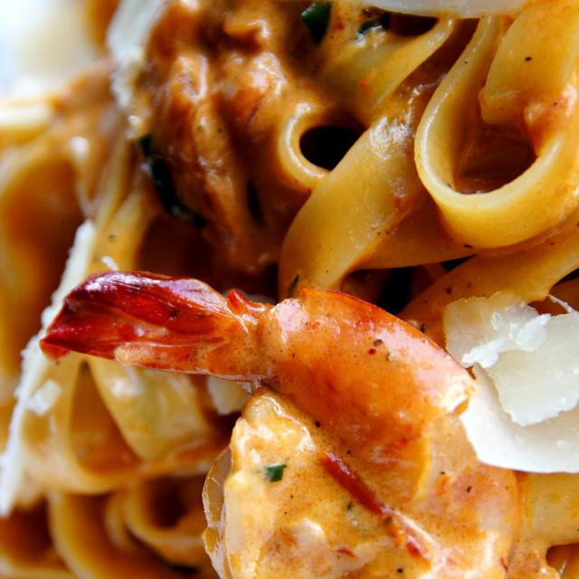 """Prawn pasta"" stock image"