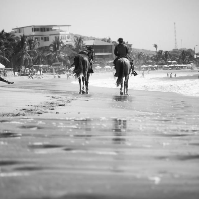 """Beach Life on Horseback"" stock image"