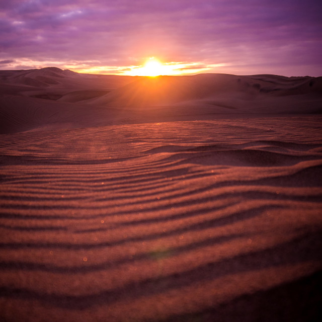 """Sunset Over Peruvian Desert"" stock image"