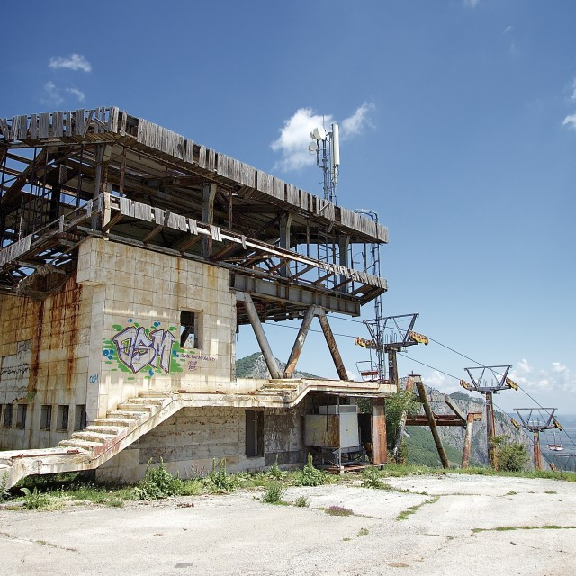 """Abandoned Chair Lift Station"" stock image"