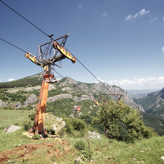 """""""Abandoned Chair Lift"""" stock image"""