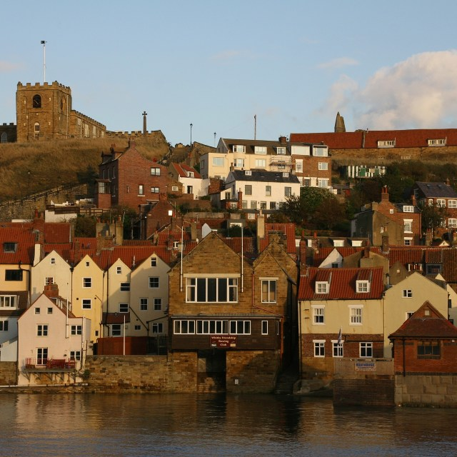 """Whitby houses near harbour"" stock image"
