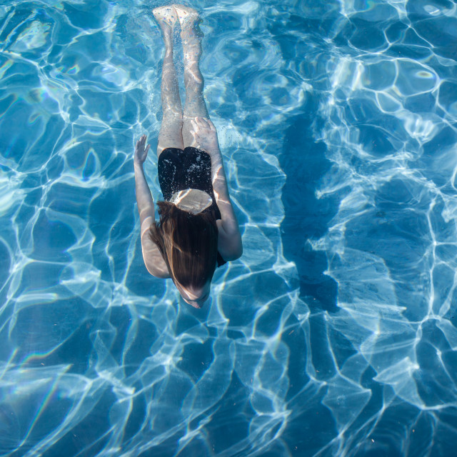 """Girl Underwater Swimming Pool Blue"" stock image"