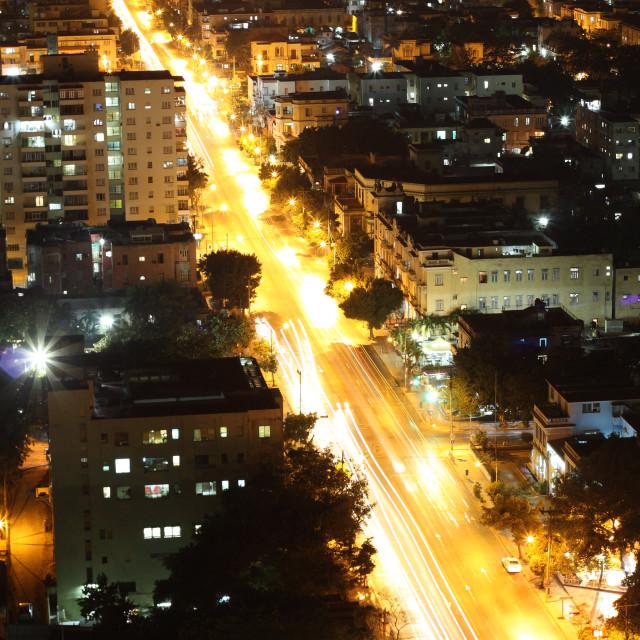 """Vedado Quarter in Havana at night, Cuba"" stock image"