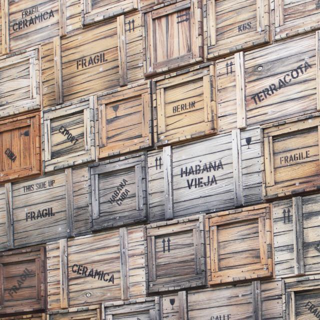 """Wooden Boxes in Havana, Cuba"" stock image"