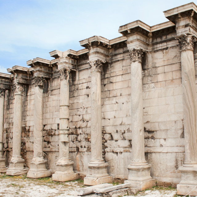 """""""Hadrian's Library in the Roman Forum of Athens, Greece"""" stock image"""