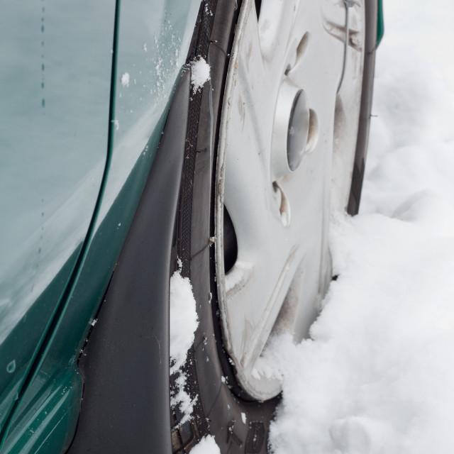 """Wheel on Snow"" stock image"